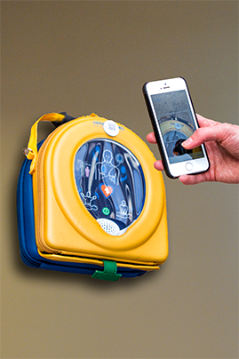 Automated external defibrillator maintenance with QR code scanner