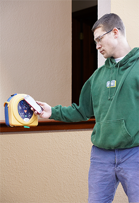 Automated external defibrillator maintenance with NFC