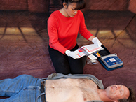 Person using AED