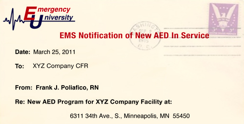 Emergency Services Notification of New AED in Service