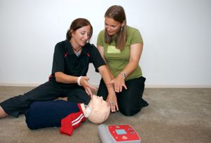 Instructor demonstrating CPR